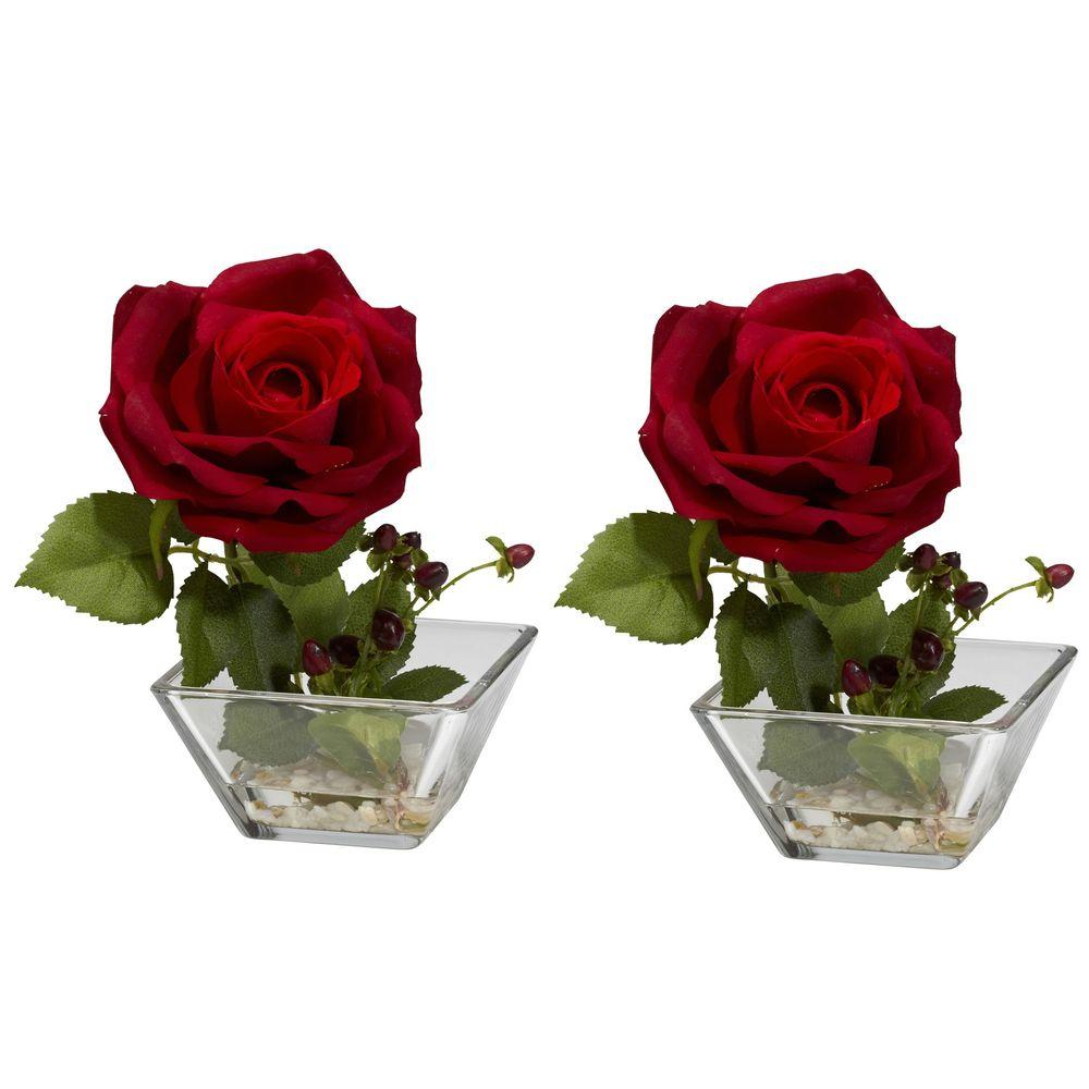 null 7.5 in. H Red Rose with Square Vase Silk Flower Arrangement (Set of 2)
