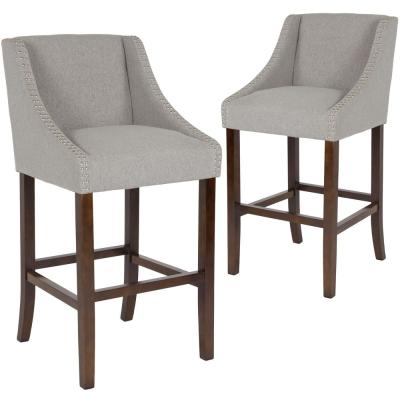 42 in. Light Gray Fabric Bar Stool (Set of 2)
