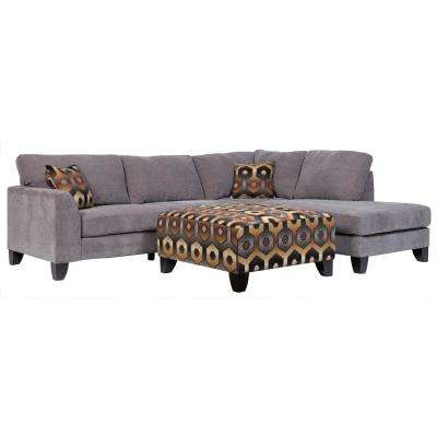 Monza Modern Gray Sectional With Accent Ottoman