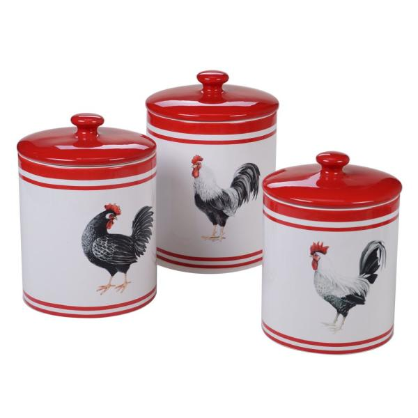 Homestead Rooster 3-Piece Country/Cottage Multi-Colored Ceramic 60, 72, 104 oz. Canister Set