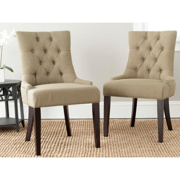 Safavieh Abby True Taupe/Espresso Linen Blend Side Chair (Set of 2)
