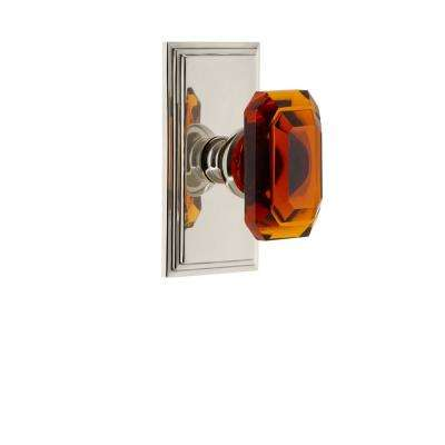 Carre Plate Double Dummy with Amber Baguette Crystal Door Knob in Polished Nickel