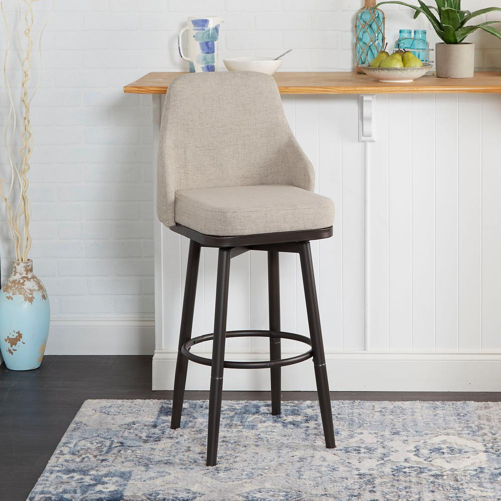 Silverwood Furniture Reimagined Cyrene Adjustable 24 in. - 29 in. Tan Upholstered Curved Back Bar Stool