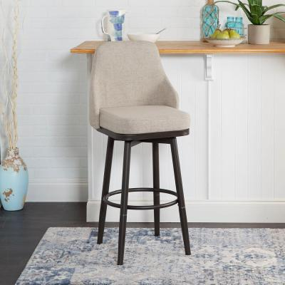Cyrene Adjustable 24 in. - 29 in. Tan Upholstered Curved Back Bar Stool