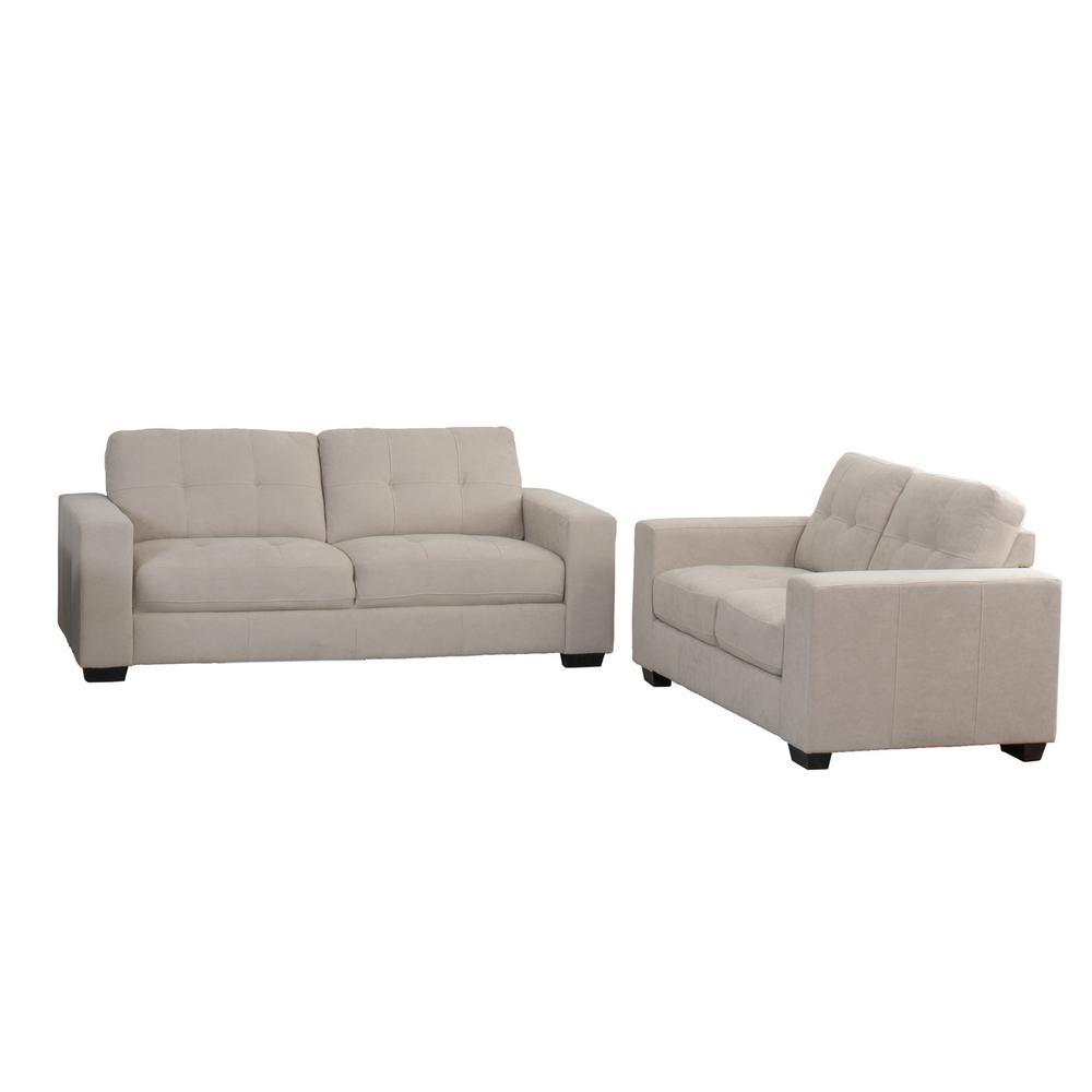 Club 2-Piece Tufted Beige Chenille Fabric Sofa Set