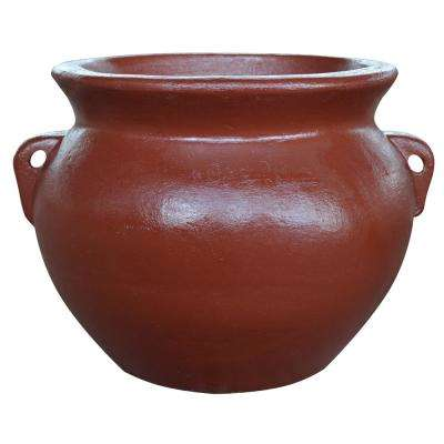 14 in. Red Soft Handle Clay Pot