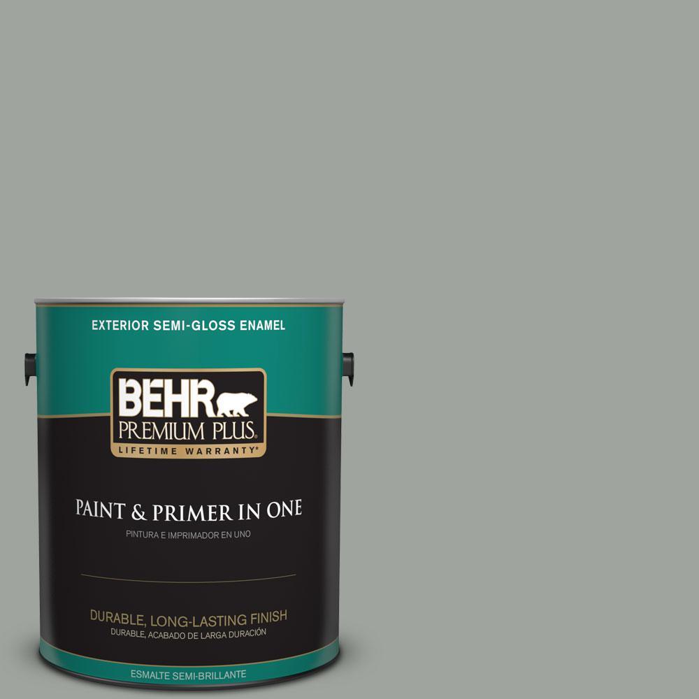 BEHR Premium Plus 1-gal. #710F-4 Sage Gray Semi-Gloss Enamel Exterior Paint