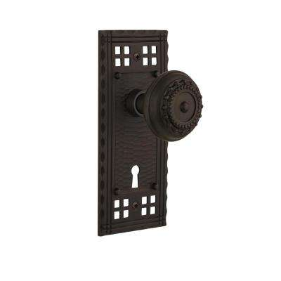 Craftsman Plate Interior Mortise Meadows Door Knob in Oil-Rubbed Bronze