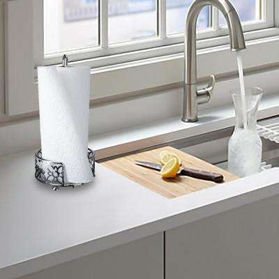 Free Standing Metal Paper Towel Holder in Silver