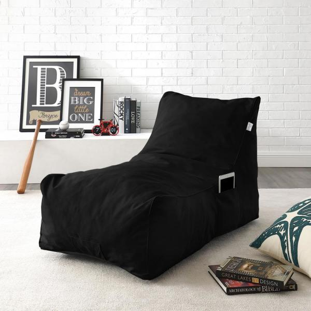 Magnificent Loungie Resty Black Bean Bag Lounge Chair Nylon Foam Sleeper Machost Co Dining Chair Design Ideas Machostcouk