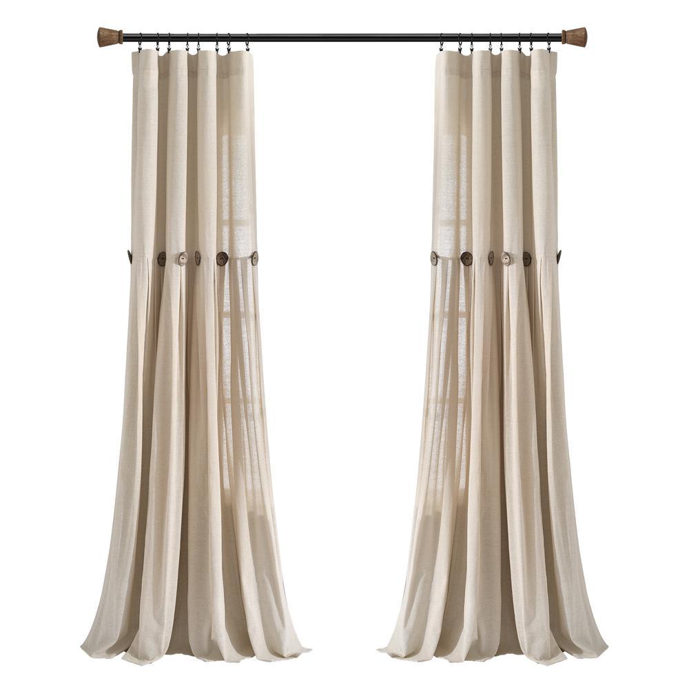 Linen Button Window Curtain Panels Single Dark Linen 40X84