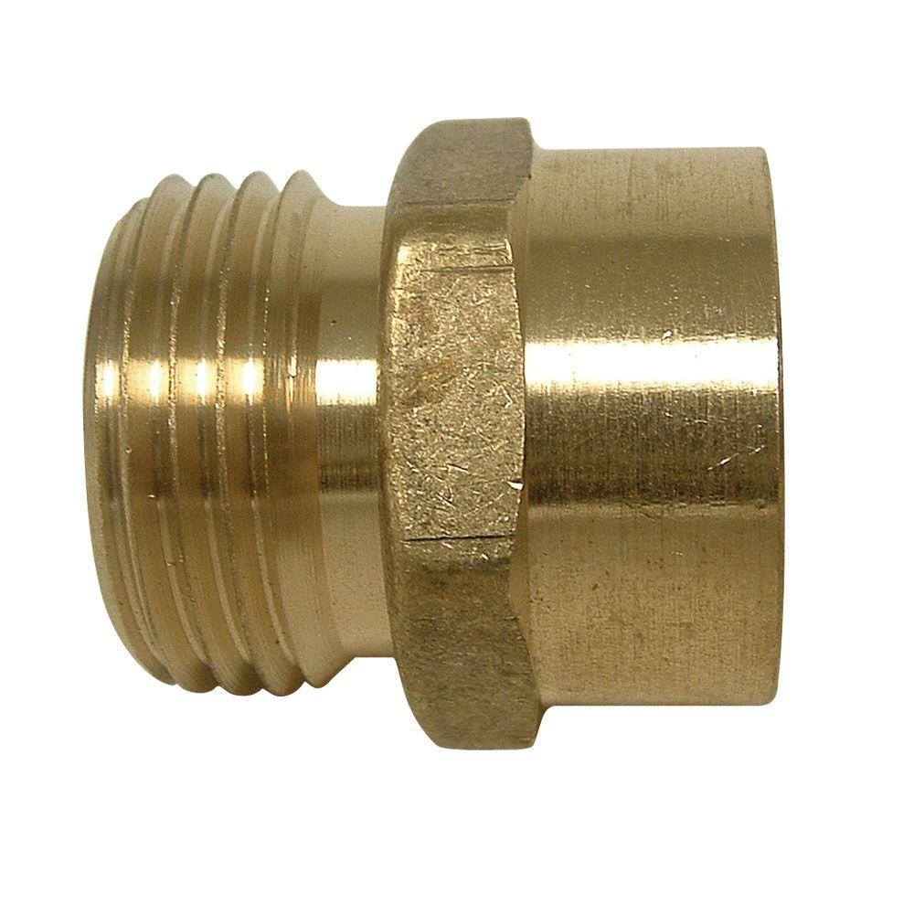 Everbilt Lead-Free Brass Garden Hose Adapter 3/4 in. MGH x 3/4 in ...