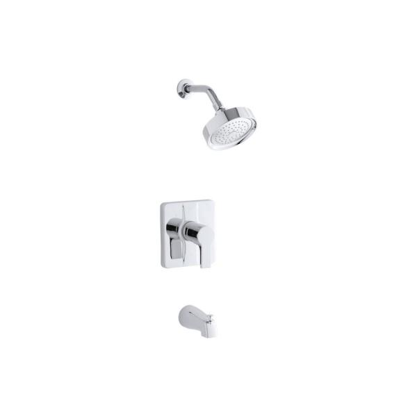 Singulier 1-Handle 1-Spray 2.5 GPM Tub and Shower Faucet with Lever Handle in Polished Chrome (Valve Not Included)