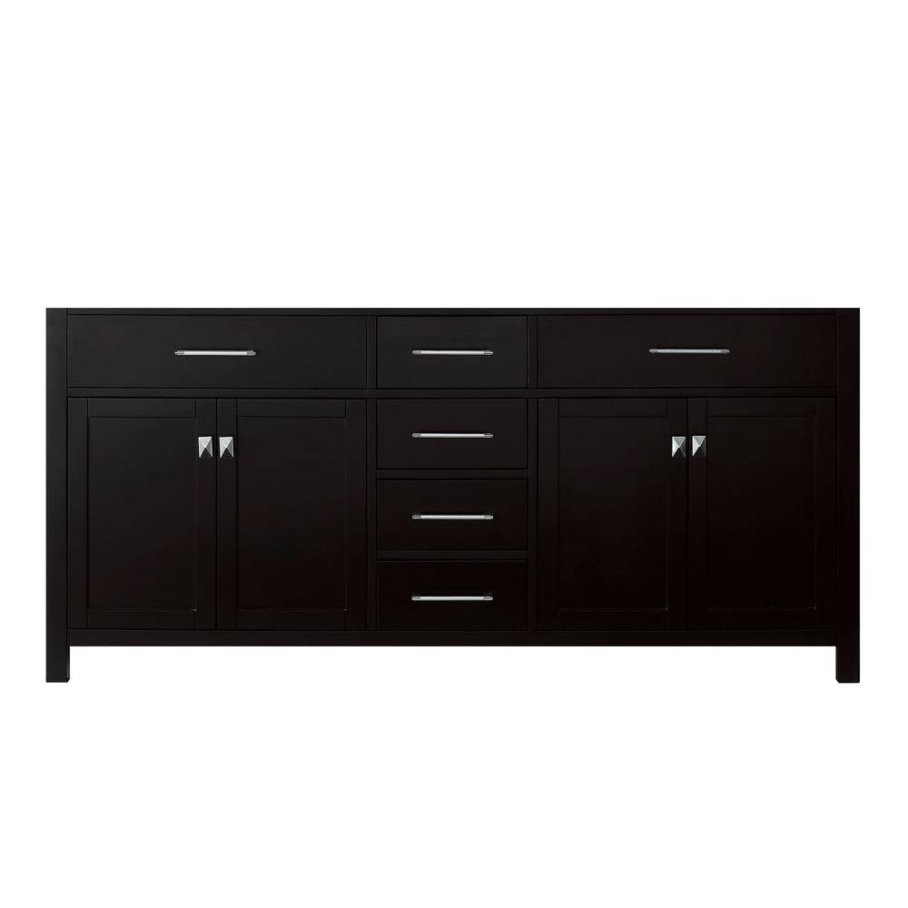 Virtu USA Caroline 71.18 in. W x 21.65 in. D x 33.46 in. H Vanity Cabinet in Espresso