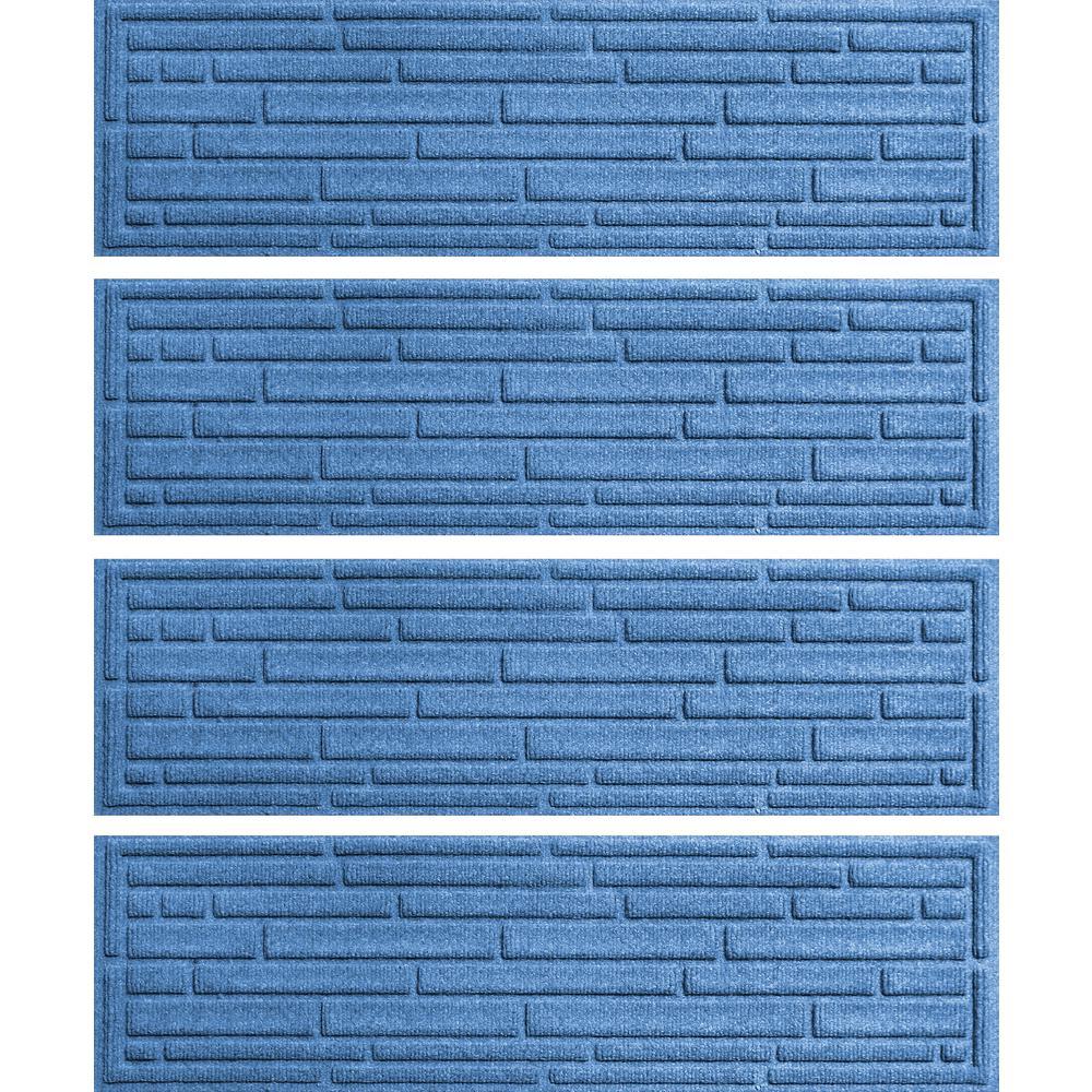 Medium Blue 8.5 in. x 30 in. Broken Brick Stair Tread Cover (Set of 4)