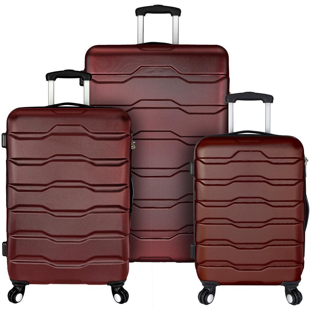 Omni 3-Piece Hardside Spinner Luggage Set, Red