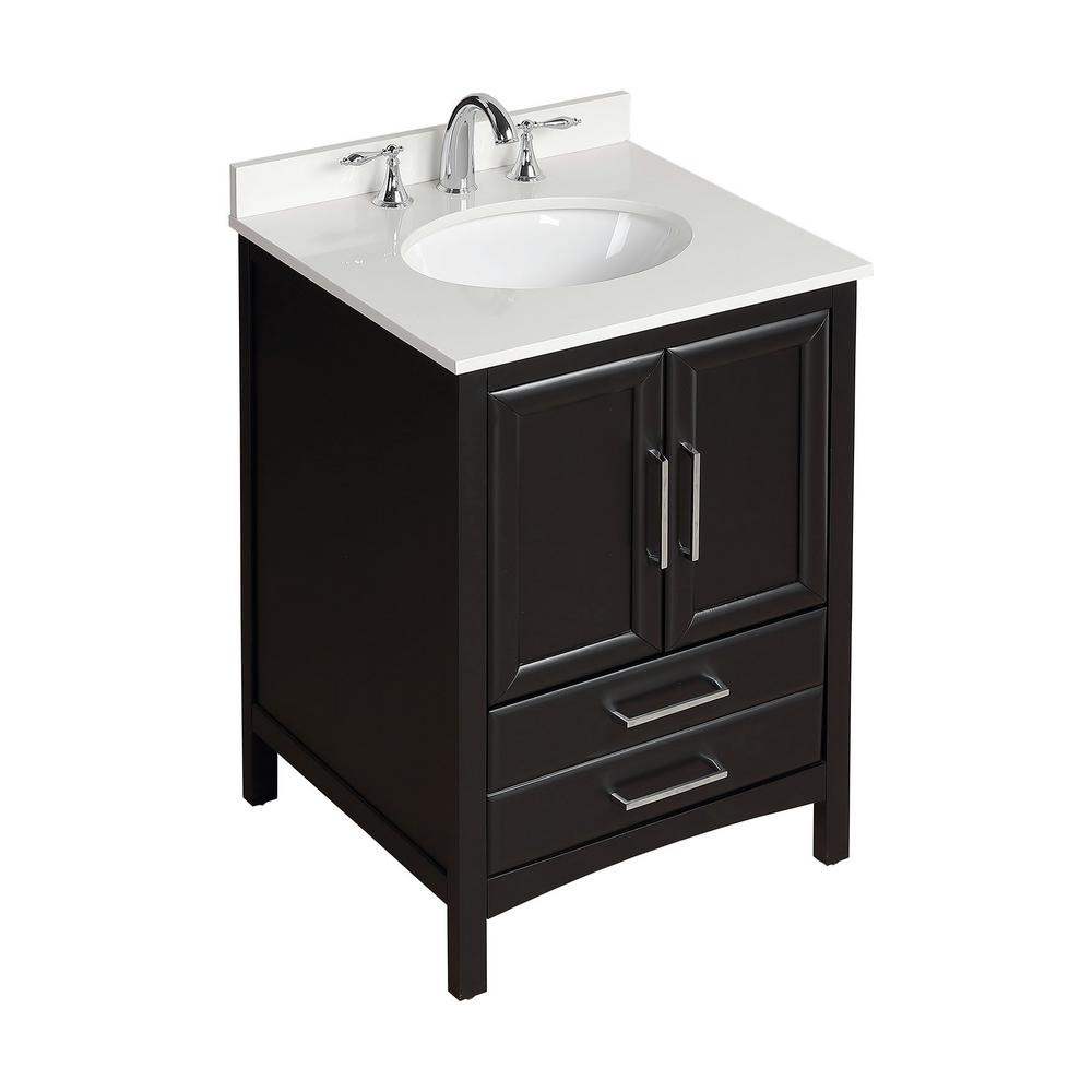 Vanity Art 24 in. W x 22 in. D x 35 in. H Bath Vanity in Espresso with Vanity Top in White Cultured Marble with White Basin