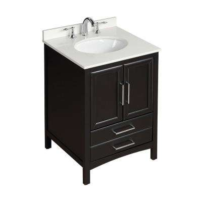 24 in. W x 22 in. D x 35 in. H Bath Vanity in Espresso with Vanity Top in White Cultured Marble with White Basin
