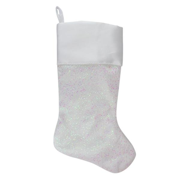 Northlight 22 25 In White With Pink Polyester Iridescent Glitter Christmas Stocking With Satin Cuff 33530774 The Home Depot