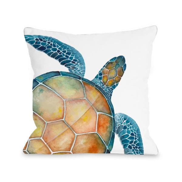 Oversized Sea Turtle Blue Graphic Polyester 16 in. x 16 in. Throw Pillow