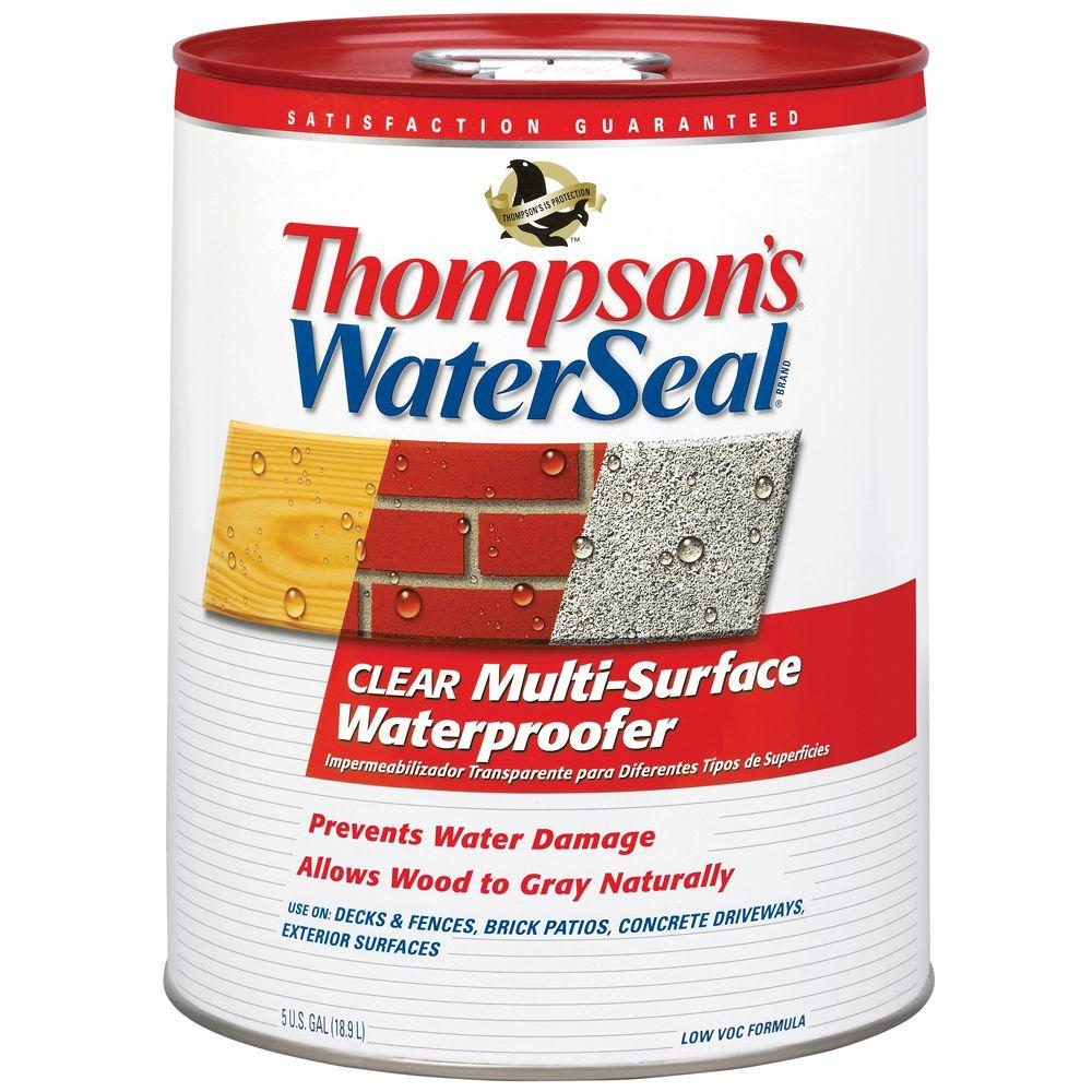 Thompson 39 S Waterseal 5 Gal Clear Multi Surface Waterproofer Exterior Sealer 24105 The Home Depot