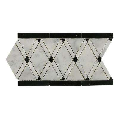 Grand Pavo Carrera Blend Border 6 in. x 12 in. x 10 mm Polished Marble Floor and Wall Tile