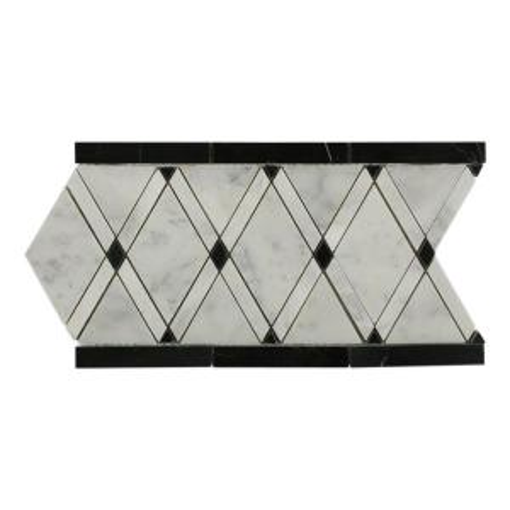 Splashback Tile Grand Pavo Carrera Blend Border 6 In X 12