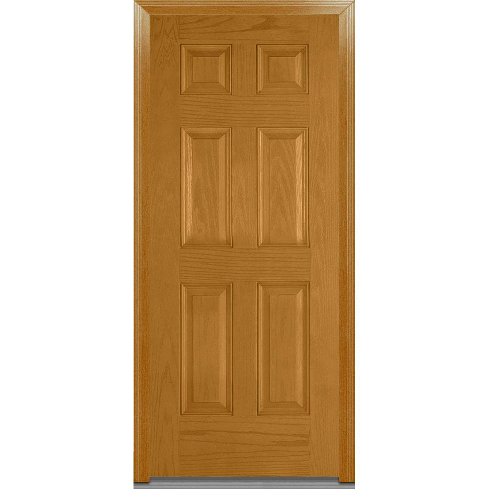 Mmi door 36 in x 80 in severe weather right hand outswing 6 panel classic stained fiberglass 36 x 80 outswing exterior door