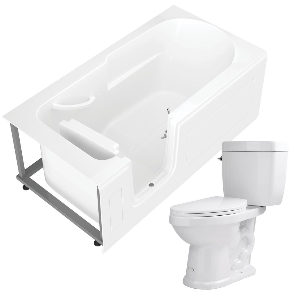 Universal Tubs Step-In 59.6 in. Walk-In Non-Whirlpool Bathtub in White with 1.6 GPF Single Flush Toilet was $2036.99 now $1527.74 (25.0% off)