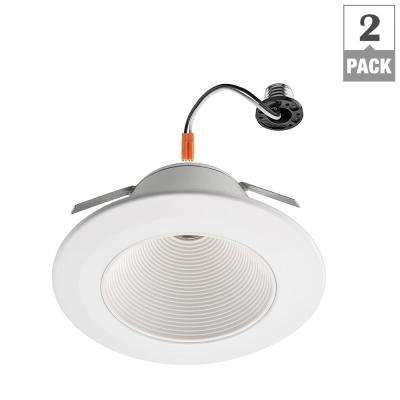 6 in. White Ultra Low Glare Integrated LED Mini Step Recessed Downlight Trim (2-Pack)