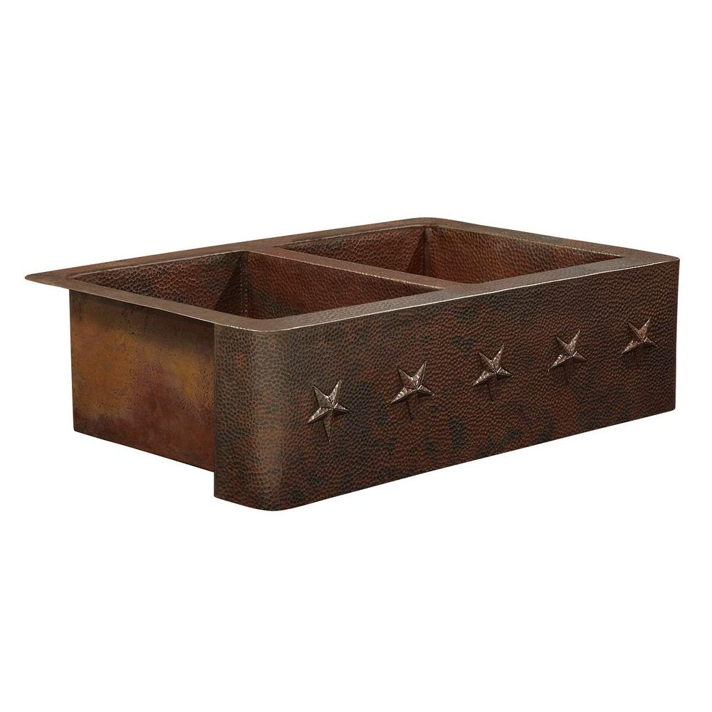 SINKOLOGY Bernini Farmhouse Apron Front Handmade Pure Solid Copper 33 in. Double Bowl 50/50 Kitchen Sink with Star Design