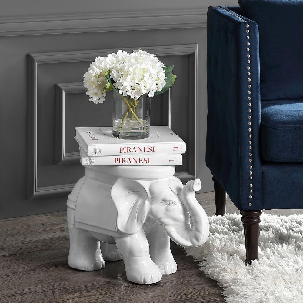 White Elephant 14.2 in. Antique White Ceramic Garden Stool
