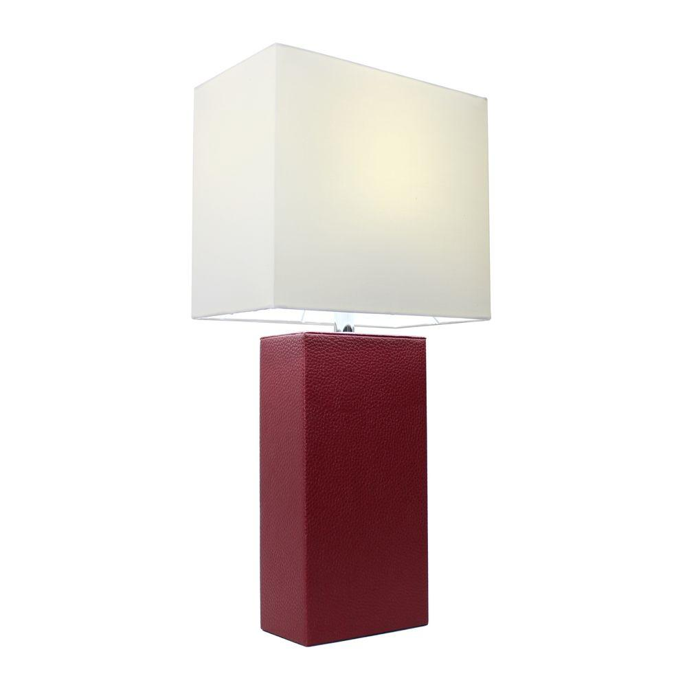 Elegant Designs Monaco Avenue 21 In Modern Red Leather Table Lamp With White Fabric Shade