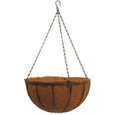 Traditional 14 in. Black Metal Hanging Basket with AquaSav Coco Liner