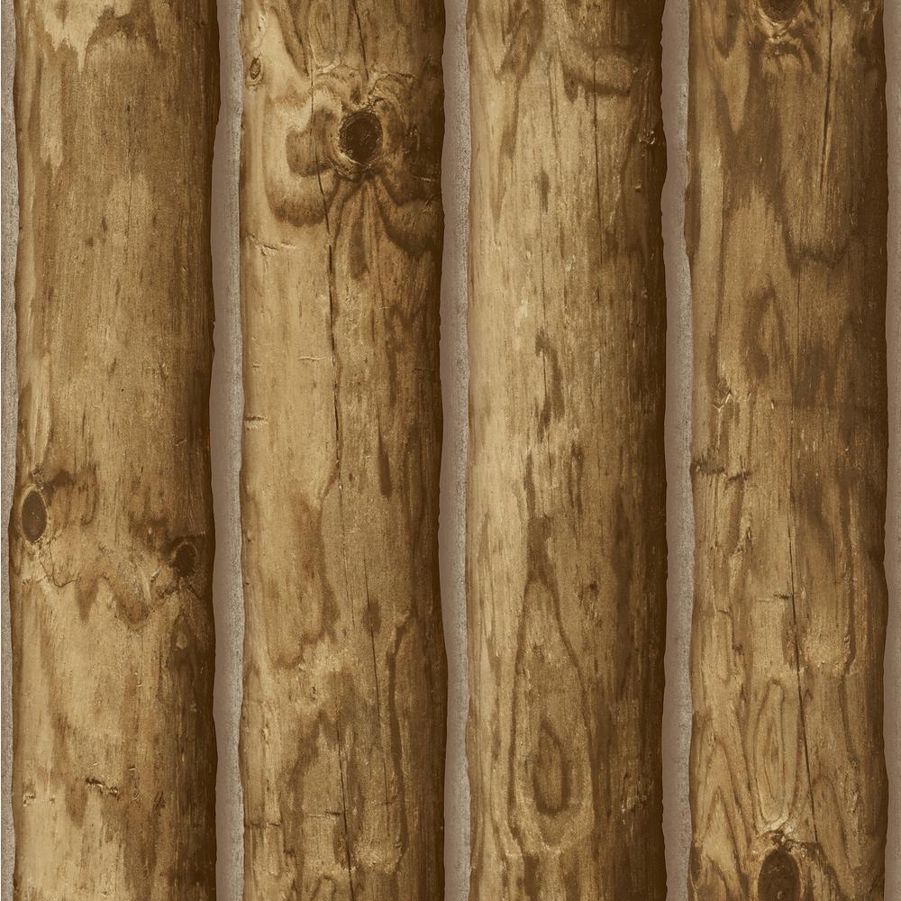 Boston Antique Oak Stacked Log Wallpaper