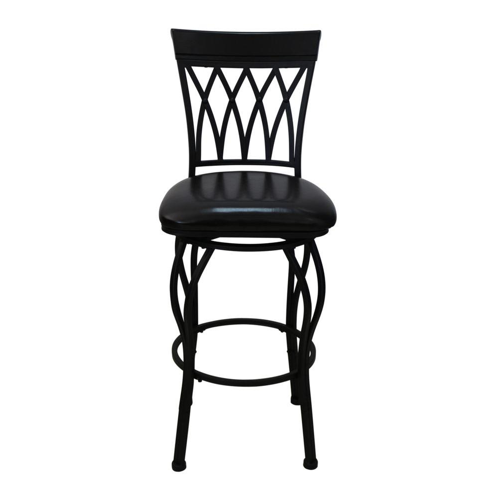HomeDecoratorsCollection Home Decorators Collection 24 in.-30 in. Metal Swivel Bar Stool with Square Padded Seat, Adjustable Heights in Black