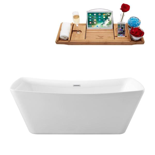 62.2 in. Acrylic Flatbottom Non-Whirlpool Bathtub in White