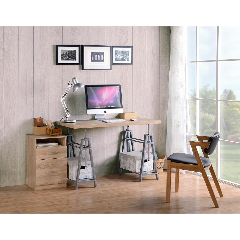 Cross Hatch Birch/Gray Adjustable Height Writing Desk With Sturdy Metal Base