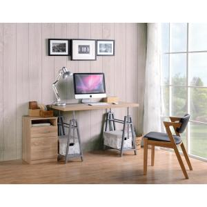 Cross Hatch Birch/Gray Adjustable Height Writing Desk with Sturdy Metal Base by