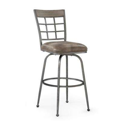 Biscayne 25 in. Pewter Swivel Counter Stool