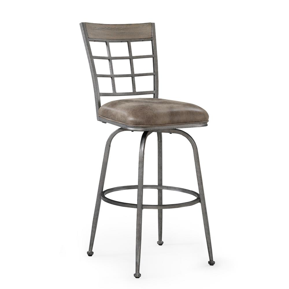 Biscayne 30 in. Pewter Swivel Bar Stool