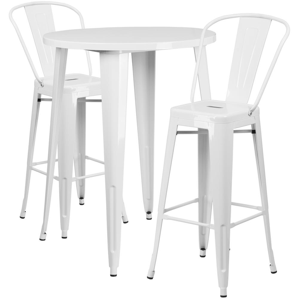 Flash Furniture White 3 Piece Metal Round Outdoor Bar Height Bistro Set