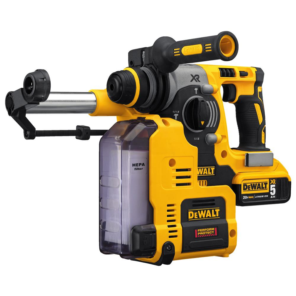Dewalt Dust Extractor >> Dewalt 20 Volt Max Xr Li Ion 1 In Cordless Sds Plus Brushless L Shape Rotary Hammer With 2 Batteries 5ah And Dust Extractor