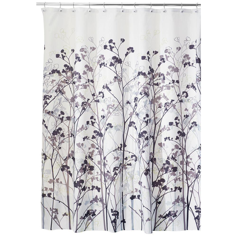 Freesia Shower Curtain In Black And Taupe