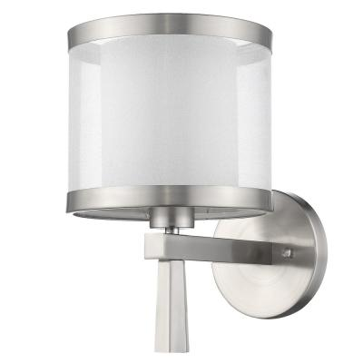Lux 1-Light Brushed Nickel Wall Sconce With Metal Trimmed Sheer Snow Shantung 2-Tier Shade