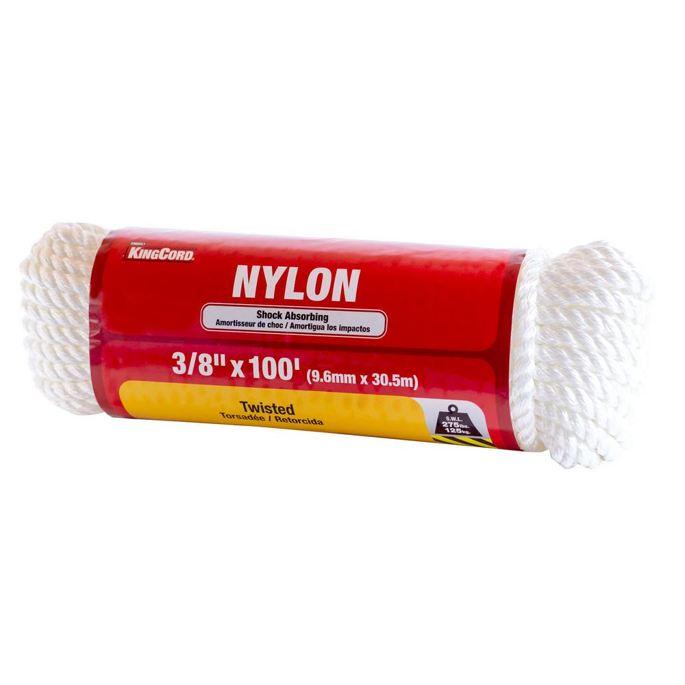 3/8 in. x 100 ft. Twisted Nylon Rope, White Color Hanked