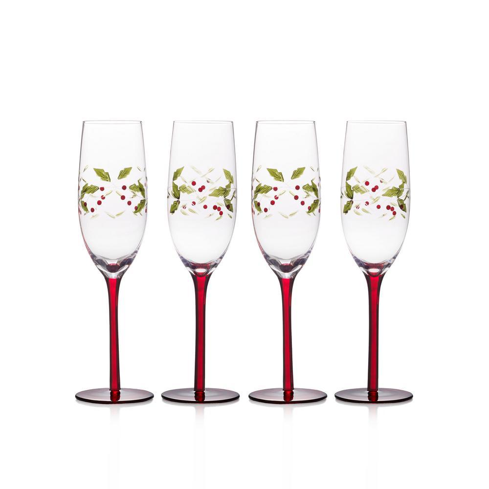 11.3 oz. Winterberry Champagne Glasses (Set of 4)