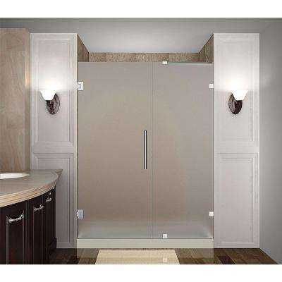Nautis 64 in. x 72 in. Completely Frameless Hinged Shower Door with Frosted Glass in Chrome
