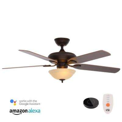 Flowe 52 in. LED Mediterranean Bronze Ceiling Fan with Light Kit Works with Google Assistant and Alexa