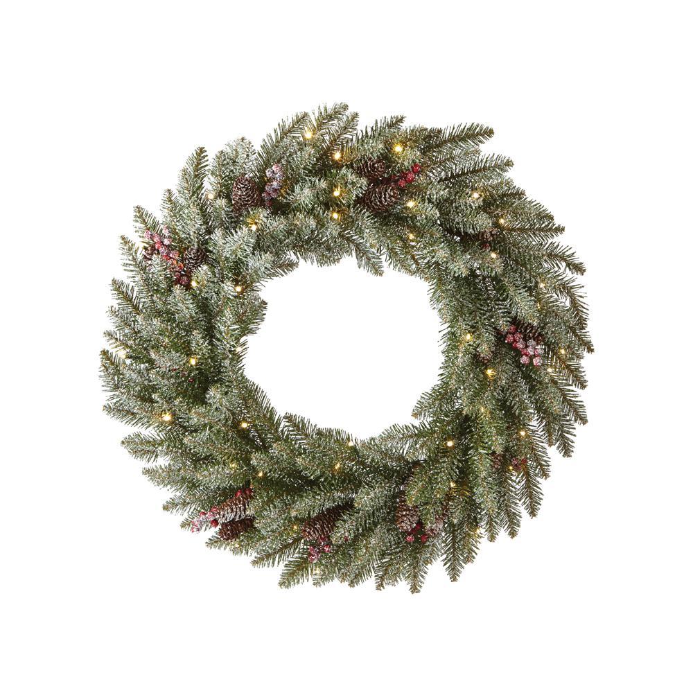 Snowy Dunhill Fir 24 in. Artificial Christmas Wreath